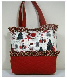 NEW handmade tote purse handbag Christmas Holiday bag tree snowman  faffygiraffe  Handmade  TotesShoppers Christmas e8bc7fb6691d1
