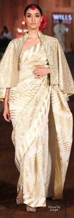 rohit bal: Ivory Sari with Golden Flowers Ethnic Fashion, Indian Fashion, African Fashion, Modern Sari, Sari Shop, Sunday Clothes, Rohit Bal, Look Short, Saree Trends