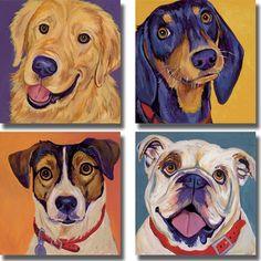 Artist: Kellee BeaudryTitle: Dog Portrait CollectionProduct type: 4-piece canvas art set