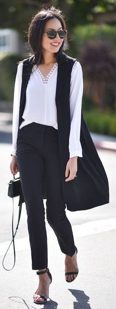 #spring #summer #outfitideas | Black And White Street Style | 9to5Chic