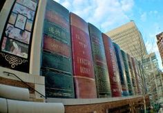 Kansas City Library, Missouri Resembling a giant bookshelf, this wall of 30-ft. spines featuring real titles of classic works is the exterior of K.C.'s Central Library car garage.  Photo: Caleb Zahnd/Flickr