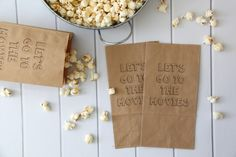 DIY Printable Popcorn Bags…these are so cute and perfect for family movie nights!