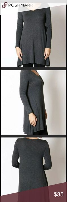 "NWT Boutique dark gray Trapeze Tunic, small New from my boutique Charcoal Trapeze Tunic. Super soft fabric that is also stretchy. 17"" bust, 31"" length. Check out my Infinity Raine leggings for some great matching outfits and a bundle discount! Tops"