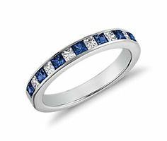 Channel Set Princess Cut Sapphire and Diamond Ring in 14K White Gold #BlueNile