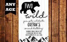 Modern Bear Birthday Invitation, Bear Invitation, Bear Birthday, Woodland Animals, Birthday Invite, Camping Birthday, Bear Invite, Two Wild