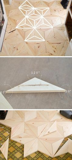 DIY Geometric Wood Flooring - we could do like a 4' section on a wall from floor to ceiling and probably just use thin wood and command strips or something: