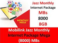 Mobilink Jazz Monthly Internet Package Mega 8000 Mbs Internet Packages Internet Packaging
