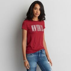 AE Soft & Sexy NYC Easy T-Shirt (€23) ❤ liked on Polyvore featuring tops, t-shirts, red, sexy tops, graphic print t shirts, graphic t shirts, american eagle outfitters t shirts and crew neck t shirt