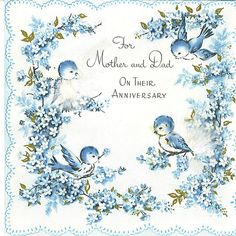 Vintage 50s greeting card to mother vintage greeting cards vintage for mother and dad wedding anniversary card with bluebirds shared by tommer m4hsunfo