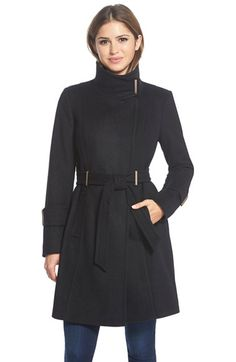 Free shipping and returns on T Tahari 'India' Wool Blend Wrap Coat at Nordstrom.com. Topped with a chic stand collar, a wrap coat with a modern military air is tailored from a warm wool blend accented with gleaming metal bars and belt loops.