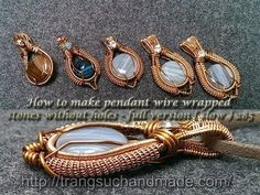 How to make pendant wire wrapped stones without holes - full version ( slow ) 285 - YouTube