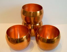 COPPER CRAFT Guild Vintage Roly Poly Cups - Set of Four Copper Cups Made in the USA,