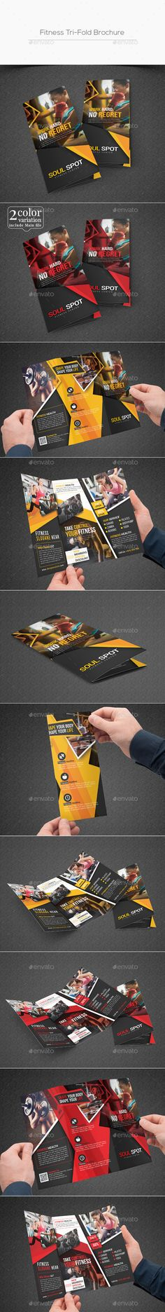 Fitness Tri-Fold Brochure Design Template - Corporate Brochures Design Template PSD. Download here: https://graphicriver.net/item/fitness-trifold-brochure/19400833?ref=yinkira
