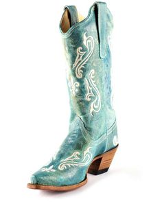 "LOVE!  Women's Turquoise Cortez/Cream   This handcrafted Corral boot features a turquoise blue leather foot and upper with a cream embroidery on the foot, shaft, and heel counter. 12"" shaft, snip toe, and Goodyear welt construction. Lightly cushioned insole for walking comfort. 2 1/8"" cowgirl heel. Single stitched welt."