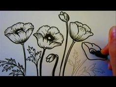 Flower Tutorial - How To Draw Flowers - Poppy Flowers - YouTube