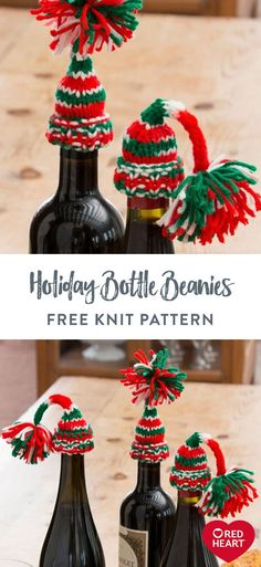 Holiday Bottle Beanies free knit pattern in Red Heart Super Saver yarn. Turn a simple bottle of wine into a jolly holiday accent just by adding a cute knit hat! It's the perfect idea for when you give holiday spirits! Knitting Patterns Free, Free Knitting, Free Pattern, Christmas Time, Christmas Ornaments, Jolly Holiday, Super Saver, Soft Blankets, Crochet Gifts