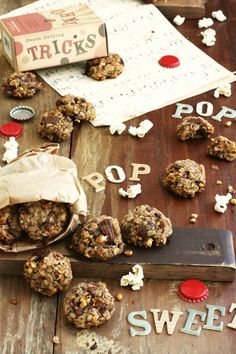 Carnival Cookies - Healthy, Sugarless Cookies baked with banana, chocolate, oats, peanuts and popcorn! Adapted from Heidi Swanson.