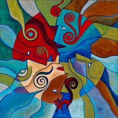 """Four Winds - An Expressionist exploration of line and color. The dimensions of this painting are 30"""" X 30""""/76cm X 76cm. Four faces. Four directions. Landscape and blowing winds. All with a cat wandering through..."""