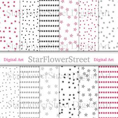 Winter Holiday Digital Paper Pattern confetti snowflake stars xmas christmas dot red gray grey silver black printable instant download by StarFlowerStreetDA