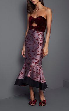 Johanna Ortiz  Lavina Strapless Fluted Dress