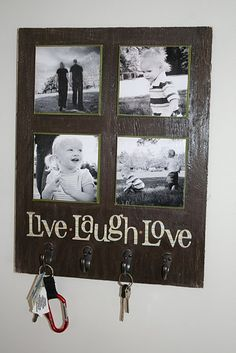Photo Key Holder Tutorial. I want to do this with our last name across the bottom, and removable canvases