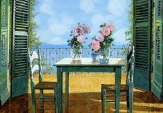 Le Rose E Il Balcone Pintura - Le Rose E Il Balcone Fine Art Print