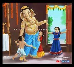Shiva Art, Ganesha Art, Lord Ganesha, Hindu Art, Radha Krishna Photo, Krishna Photos, Indian Gods, Indian Art, Happy Ganesh Chaturthi Images