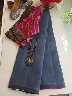 Best 12 Kota Doria with contrast edging – SkillOfKing. Organza Saree, Silk Sarees, Handloom Saree, Indian Sarees, Saree Blouse Patterns, Sari Blouse Designs, Trendy Sarees, Fancy Sarees, Saree Color Combinations