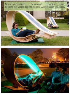 Geek Genius Ideas- solar-powered lounging chairs that recharge your electronics Colossill.com
