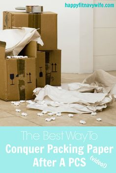 """""""The best way to conquer packing paper after a PCS (with video)"""" by Heather of Happyfitnavywife.com 