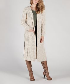 Take a look at this Stone Cable-Knit Hooded Duster today!