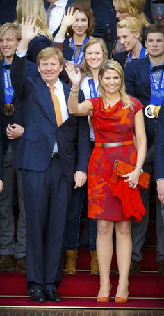 MYROYALS & HOLLYWOOD FASHION:  King Willem-Alexander and Queen Maxima received the Dutch Olympic Medalists from the Sochi Games at Noordeinde Palace in Den Haag, February 26, 2014
