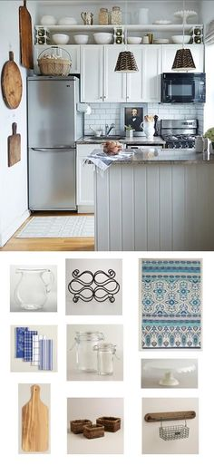 Get coastal in your kitchen with wood, glass, and a few pretty blue textiles. With nothing in this moodboard over $20, Cost Plus World Market is clearly the ideal place to get accents to your heart's desire, and easily transform your kitchen into a rustic, seaside escape.