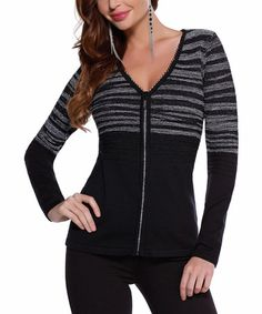 Look what I found on #zulily! Black & Silver Stripe Zip-Up Cardigan by Belldini #zulilyfinds