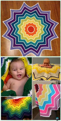 Crochet Rainbow Ripple Baby Blanket Free Pattern - Crochet Rainbow Blanket Free Patterns