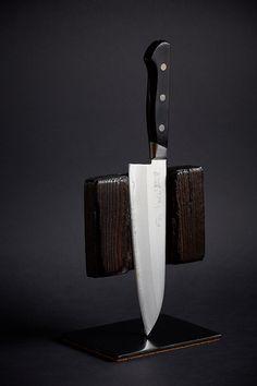 Shou Sugi Ban / Yakisugi Japanese knife holder. Designed, produced and photographed by me.   #diy #woodworking #photography #Yakisugi #design #knife
