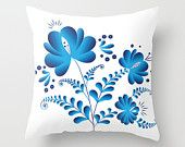 Decorative Gzhel style Throw Pillow Cover flower photo decorative floral pillow cover, bedroom accent pillow, flower bedding