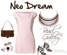 Neo Dream fashion look board featuring the DIY Espresso Necklace. Click for complete instructions to make your own with Bead Gallery beads from @michaelsstores !  http://www.halcraft.com/design/diy-saturday-now-trending-neoprene/