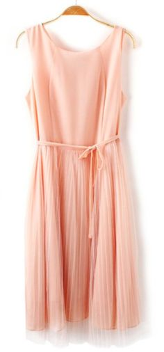 Peach Pleated Dress