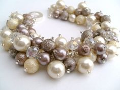 Taupe Bridesmaid Jewelry Wedding Pearl Bridesmaid by KIMMSMITH, $19.00