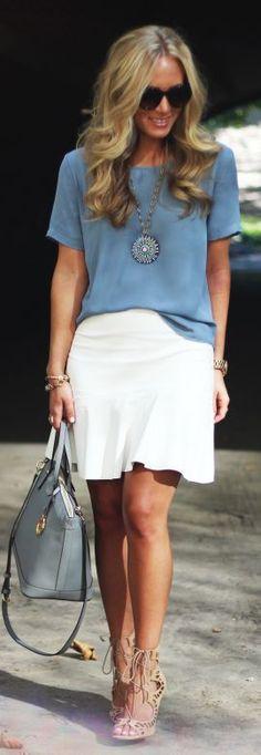 Lulu's Blue Short Sleeve Chiffon Blouse
