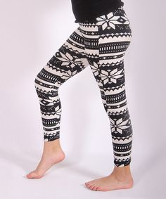 Look what I found on #zulily! White & Black Pointsetta Leggings #zulilyfinds