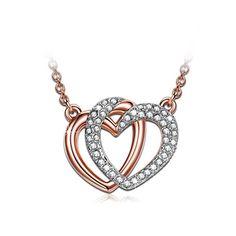 #trending #jewellery #amazon J NINA Guardian of Love Women Pendant Necklace Rose Gold Plated SWAROVSKI crystals Heart Jewellery Nickel-Free