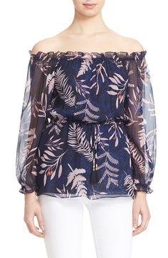 DIANE VON FURSTENBERG 'Camila' Off The Shoulder Silk Top. #dianevonfurstenberg #cloth #