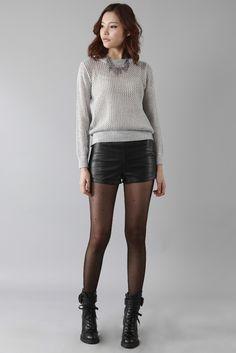 grey open-knit sweater