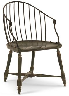McClellan Armchair ( Hand-forged iron top with wood base. Wooden Dining Chairs, Table And Chairs, Side Chairs, Table Games, Vanity Bench, Great Rooms, Contemporary Design, Craftsman, Armchair