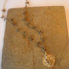 Gold, Labradorite and Cross Necklace