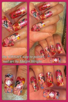 Valentine's Day, cupid, hearts and flowers Hand painted nail art. Painted with Nail polish and acrylic paint by Melgin Wright  http://www.facebook.com/TheWrightWayToPolishNailArtByMelginWright  http://pinterest.com/melginswright/boards/