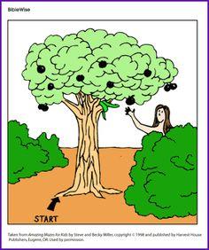 Adam and Eve Maze - Kids Korner - BibleWise Kindergarten Crafts, Preschool, Old Testament Bible, School Worksheets, Tree Roots, Bible Crafts, Adam And Eve, Maze, Fun Games