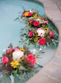 Top 20 Wedding Ideas of 2013 - Project Wedding-if we don't have a swimming pool we could decorate a fountain at the wedding venue if there is one